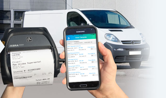 Sales rep's hands in the left a Zebra Printer ZQ520 with an invoice and in the right a Samsung Android phone with a Route Accounting Software installed, in the background there's a white distributor logistic truck