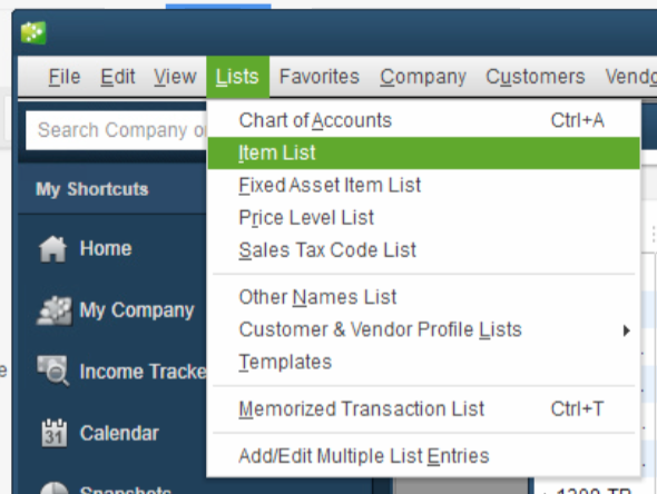 QuickBooks Lot Tracking 1 - List - Item List