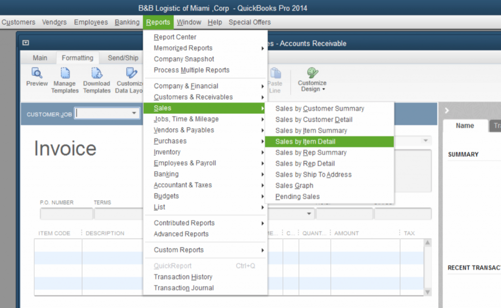 Quickbooks Lot tracking - Report - Sales - Sales By Item Detail