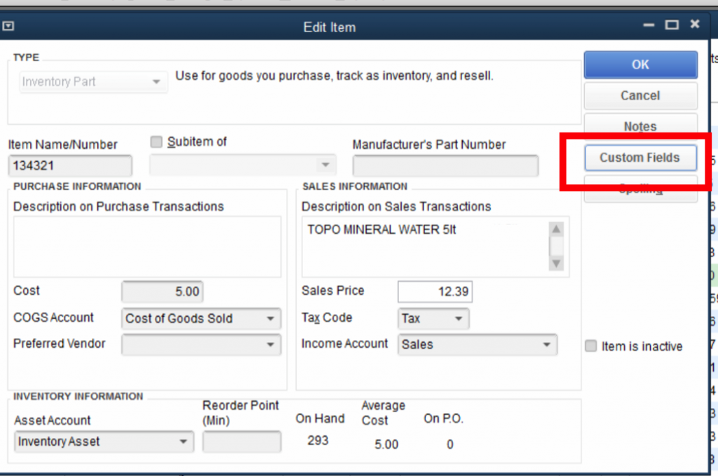 QuickBooks Lot Tracking 2 - Item - Custom Field