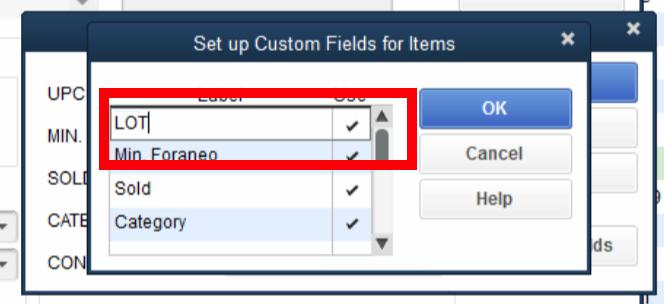 QuickBooks Lot Tracking 4 - Custom Set Up LOT