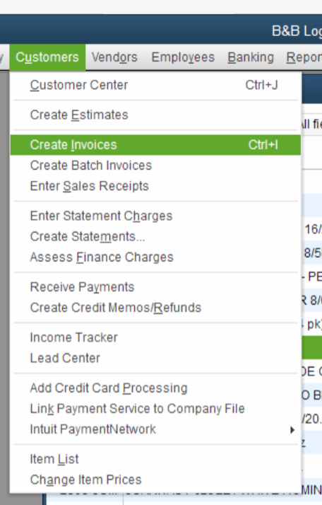 QuickBooks Lot Tracking 5 - Customers - Create Invoice