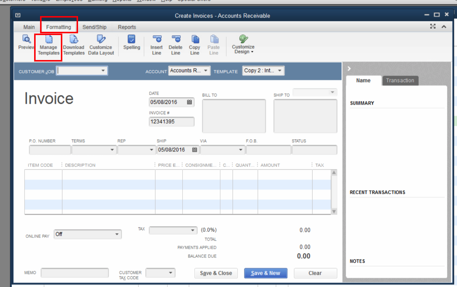 QuickBooks Lot Tracking 6 - Formatting - Manage Template