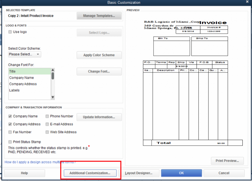 QuickBooks Lot Tracking 8 - Click Additional Customization