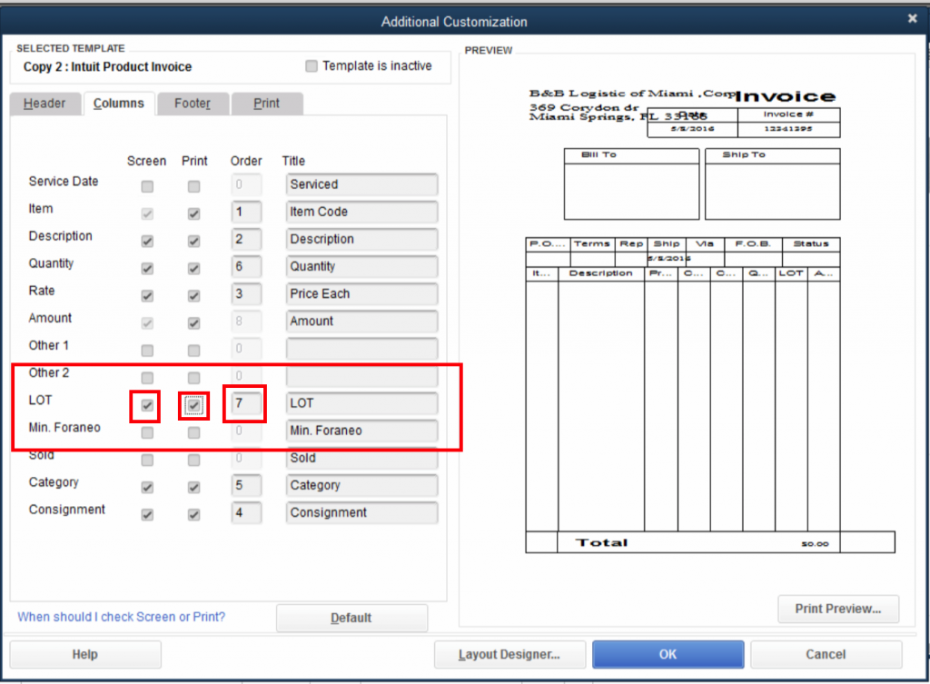 QuickBooks Lot Tracking 9 - Additional Customization - Checkmark LOT