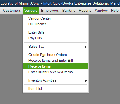 Quickbooks Inventory Control Step 8
